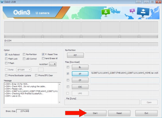 Odin press start to upgrade Samsung SM-G386T to MetroPCS Firmware