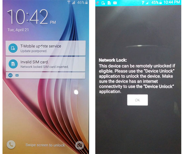 """Original """"Locked Screen"""" of a Samsung Galaxy S6 from T-Mobile USA"""
